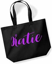 Katie Personalised Shopping Tote in Black Colour