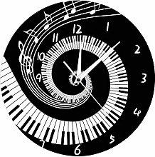 Katigan Elegant Piano Key Clock Music Notes Wave