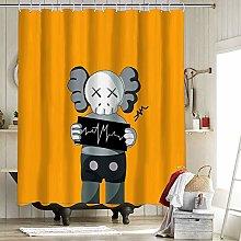 Kaws Bathroom Shower Curtain Liner Fabric Bathroom