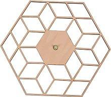 Kaxofang 1 Pcs Hexagon Wood Wall Clock Advanced