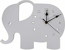 Kaxofang 1PC Mute Wooden Wall Clock Elephant