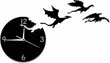 Kaxofang Acrylic Wall Clock Flying Dragon Mute DIY