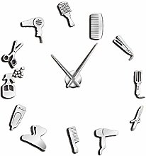 Kaxofang Diy Barber Shop Wall Clock with Mirror
