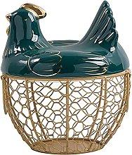 Kaxofang Egg Storage Basket Metal Wire Fruit