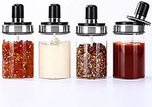 KAYBELE 4PCS Condiment Jars,Cover And Spoon