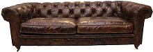 Kayden Leather 3 Seater Chesterfield Sofa