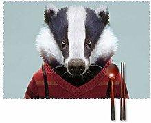 KAZOGU Badger Sir Placemats Set of 4 Washable Heat