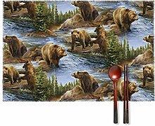KAZOGU Brown Grizzly Bears Wildlife Placemats Set