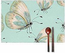 KAZOGU Butterflies Placemats Set of 4 Washable