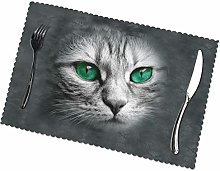 KAZOGU Cat With Green Eyes Placemats Set of 6