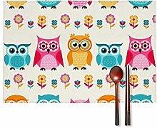 KAZOGU Cute Cartoon Owls Pattern Placemats Set of