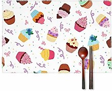 KAZOGU Delicious Pattern With Cupcakes Placemats
