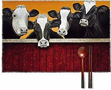 KAZOGU Funny Milk Cow Placemats Set of 4 Washable