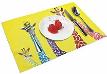 KAZOGU Giraffe Placemats Set of 4 Heat Insulation