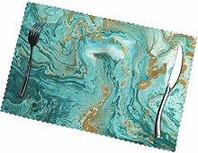 KAZOGU Green Gold Marble Placemats Set of 6