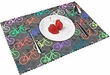 KAZOGU Home Table Mats Set of 4 Bright Bikes