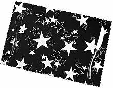 KAZOGU Parties Table Mats Set of 6 Black Stars