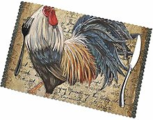 KAZOGU Place Mats Set of 6 Awesome Rooster Chicken