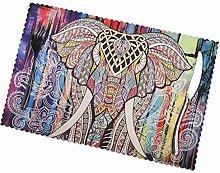 KAZOGU Place Mats Set of 6 Bohemian Elephant Home