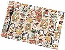 KAZOGU Place Mats Set of 6 Cute Tribal Owls Home