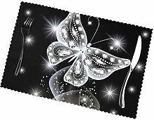 KAZOGU Place Mats Set of 6 Diamond Butterfly