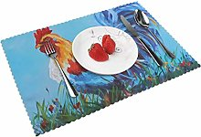 KAZOGU Set of 4 Placemats Art Rooster Cock Durable