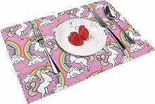 KAZOGU Set of 4 Placemats Magic Unicorn Rainbow