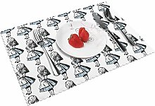 KAZOGU Set of 4 Placemats Small Alice In
