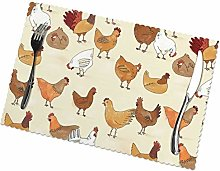 KAZOGU Set of 6 Placemats A Brood of Chickens