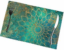 KAZOGU Set of 6 Placemats Abstract Teal Watercolor