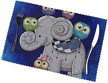 KAZOGU Set of 6 Placemats Cartoon Elephant And Owl