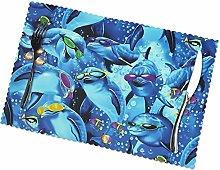 KAZOGU Set of 6 Placemats Sunglasses Dolphin Easy