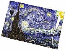 KAZOGU Set of 6 Placemats Van Goghs Starry Night