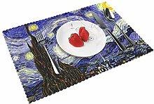 KAZOGU Van Goghs Starry Night Placemats Set of 4
