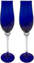 KCHAIN 2pcs Champagne Flute Glass 7oz (Tulip Blue)