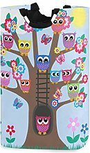 Kcldeci Tree Full Owls Flower Laundry Basket Bird