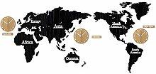 KCOLC Bedroom Living Clock World Map Wall Clock