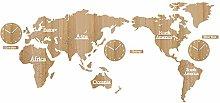KCOLC Room Clock World Map Wall Clock Decorative