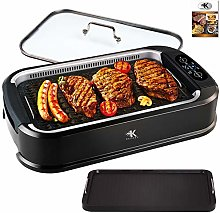 KCZAZY Electric Smokeless Grill with Glass Lid,