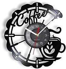 KDBWYC Coffee wall art record clock kitchen