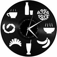 KDBWYC Food Clock Vinyl Wall Clock Record Unique