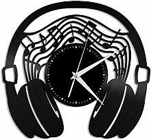 KDBWYC Headphone vinyl wall clock gift for music