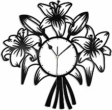 KDBWYC Lily vinyl wall clock unique gift for