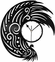 KDBWYC Peacock Vinyl Wall Clock Unique Gift for