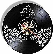 KDBWYC Retro record clock coffee vinyl wall clock