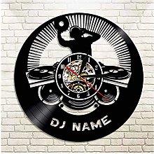 KDBWYC Retro record clock DJ vinyl wall clock with