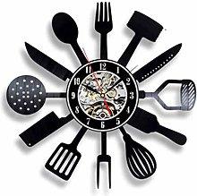 KDBWYC Retro record clock kitchen utensils vinyl