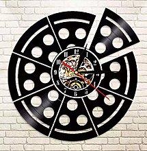 KDBWYC Retro record clock pizza vinyl wall clock