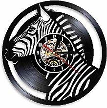 KDBWYC Vinyl wall clock with zebra head retro