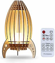 KEEDA Dimmable LED Rocket Night Light, Wood Carved